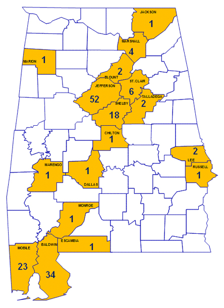 Locations Where Chinese Drywall Has Been Verified in Alabama